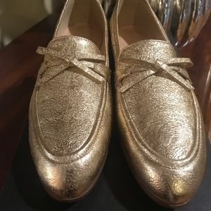 JCrew Academy loafers -   New in box/ Metalli Gold